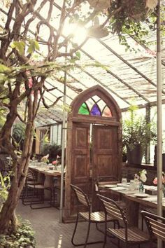 Cafe in the garden shop