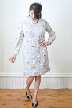 1960's BEADED SHIFT DRESS in White and Silver  / A Line Dress / Gown / Tunic Size Medium / Large Hollywood Red Carpet Glamor Wedding. $139.00, via Etsy.