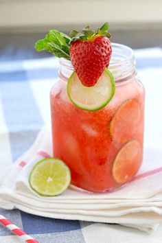Strawberry-Lime (Coconut) Agua Fresca