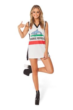 Sharkie Republic White Shooter by Black Milk Clothing $80AUD