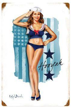Navy Girl  Metal Sign 12 x 18 Inches, $29.98 #vintage #retro #nostalgia #tinsign #homedecor #pinup