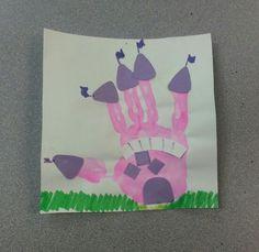 Preschool fairytale week castle handprint craft