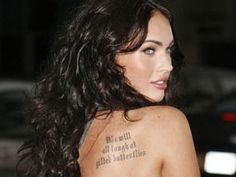 Actress Megan Fox has a quote from Shakespeare s King Lear tattoed on her back