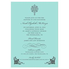 Cross and Ornate Corner Tiffany Baptism Invitation