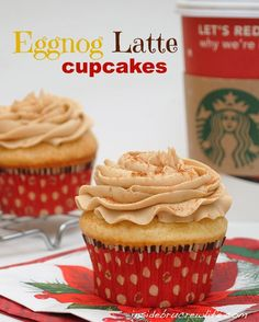 Eggnog Latte Cupcakes - vanilla cupcakes made with eggnog and topped with a coffee butter cream #eggnog #holiday #starbucks http://www.insidebrucrewlife.com