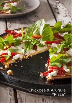 chick pea and arugula pizza