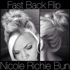 hair tutorials, nicole richie, long hair, fast updo, messy buns
