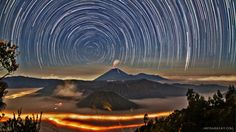 The stars circling above the active Indonesian volcano Mount Semeru. Photo by Teoh Hui Chieh.