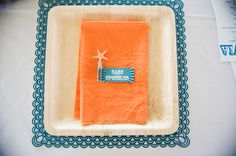 Modern orange and turquoise wedding, handmade placemats // photo by Laurel McConnell Photography
