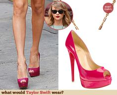 Taylor Swift's pink peep toes. Outfit Details: http://wwtaylorw.com/3127
