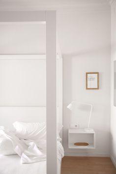 emmas designblogg. Floating bedside table, light.