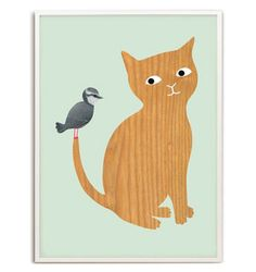 Children's room - Kitty & Bird Poster - Audrey Jeanne