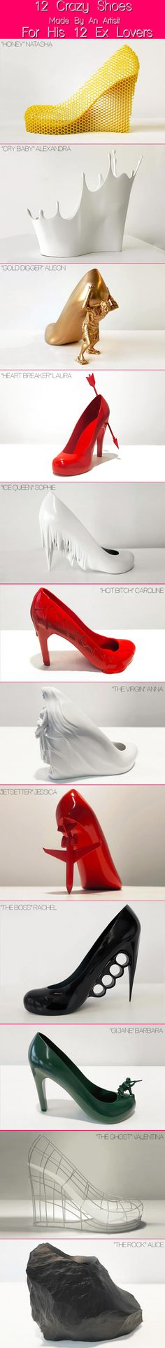 Artist Creates 12 Shoes For 12 Ex Lovers. shoe art, woman shoes, artist creat, new shoes, baby shoes, 12 shoe
