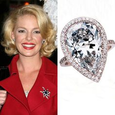 Katherine Heigl's unique engagement ring has a gorgeous pair shaped diamond surrounded by a rose gold halo  #engagement #engagementrings #jewelry #artdeco #weddings #celebrity #katherineheigl #uniqueengagementrings