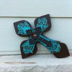 Chocolate brown and real layered wooden cross