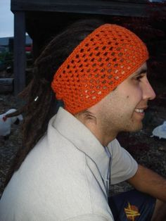 Burnt Orange Crochet Dread Sock, Headband, Dread Band, Hair Wrap