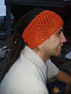 Burnt Orange Crochet Dread Sock, Headband, Dread Band, Hair Wrap