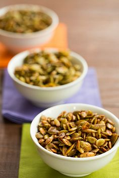 Roasted Pumpkin Seeds with 3 Spice Blend Recipes by @Michelle (Brown Eyed Baker) :: www.browneyedbaker.com