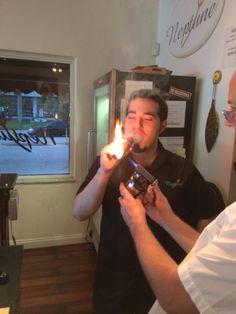 Lighting an 80 ring gauge cigar