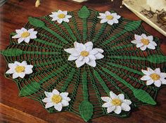 NEW! Daisy Web Doily crochet pattern from Newest in Floral Doilies, Book No. 268, from 1950.