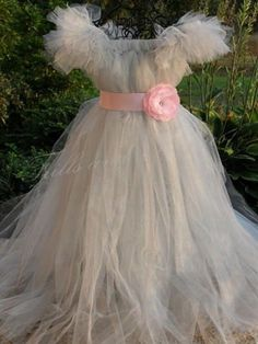 Silver Tutu Dress with Pink Flower Sash... Great for a Flower Girl Dress, Costume, Party Dress.  Available in other colors.... $68.00, via Etsy.