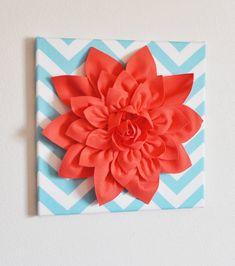 "Wall Flower -Coral Dahlia on Aqua and White Chevron 12 x12"" Canvas Wall Art- 3D Felt Flower on Etsy, $34.00"