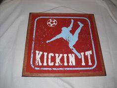 Soccer Bedroom Accessories | Kickin It Soccer Wooden Boys Sports Bedroom Wall by melimarlatt