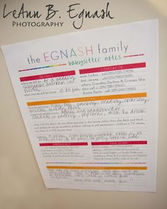 """FREE """"babysitter notes"""" printable  http://www.facebook.com/lbegnashphotography"""