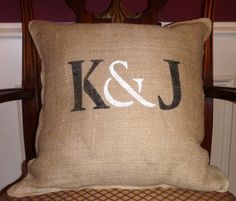 insipiration for a burlap pillow with initials