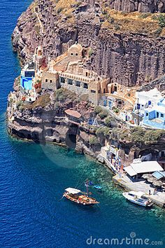 f the old port of Fira Santorini island | Greece