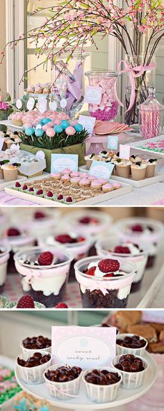 Sweets Table Inspiration. Love the individual portions for the cherries & fruit compotes. Lots of inspirational photos on blog post.