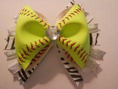Softball Hair Bow - REAL Softball (All Yellow) on Etsy, $10.00