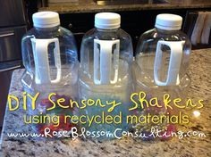 DIY sensory shakers with recycled materials from Rose Blossom Consulting. Sensory exploration for infants and young toddlers