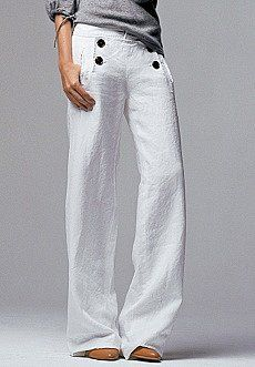White linen pants with sailor buttons