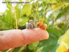 Two Rabbits, Super Micro crochet miniatures collectibles toys, OOAK by suami $25.00