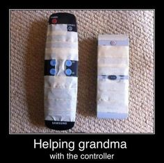 Helping grandma with the controller.