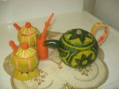 Tea Set Carving by Najwa Dorgalli