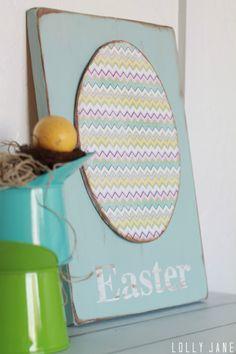 Chevron Foam Egg Easter Sign DIY #easter #yearofcelebrations