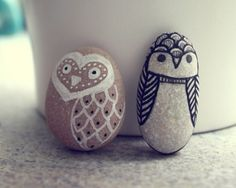 Stone Owls. My mom used to make pet rocks like this for us!