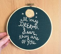 Limited Edition 6 inch art hoop Sweetest Dream illustrated quote nursery home love children bedroom office decor modern navy yellow. $20.00, via Etsy.