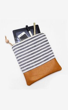 ipad case leather clutch nautical stripe bag