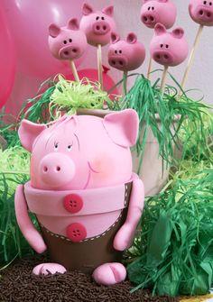 DIY garden decor idea cute piggy flower pot clay www.diy-enthusiasts.com