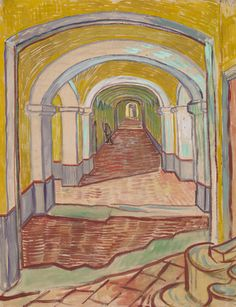 Vincent van Gogh (Dutch, 1853–1890). Corridor in the Asylum, September 1889. The Metropolitan Museum of Art, New York. Bequest of Abby Aldrich Rockefeller, 1948 (48.190.2) | This haunting view of a sharply receding corridor in the asylum at Saint-Rémy, France, with a small male figure in the middle distance turning toward a door, is Van Gogh's most powerful description of the institution where he spent a year, from May 1889 to May 1890, shortly before the end of his life. #OneMetManyWorlds