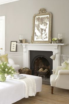 French Grey dark. Love the color scheme in general. Such a beautiful area for the end of the bedroom in a corner...or next to a window.....I also love Gray Paint... Mirror, Wall Colors, Interior, Living Rooms, Paint, Fireplace, Live Room, Wall Colours, French Grey