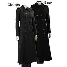 Womens Black Military Coat | Down Coat