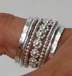 Set of Stacking #Rings Sterling #Silver Bold Band of #Daisy Flowers Between Dotted & Hammered Bands  #jewelry #handmade #handcrafted #stacking #ring #stack #flower