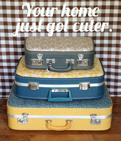 Recover a suitcase with vintage fabric.