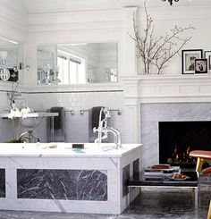 White Subway Tile with Marble