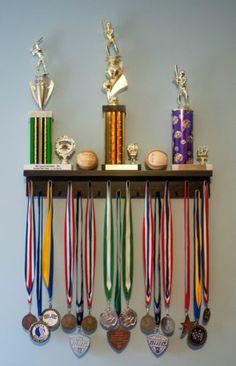 Award Medal Display Rack and Trophy Shelf idea, award medal, baseball award display, basebal display, boys trophy shelves, medal award, kiddo, room, medal display