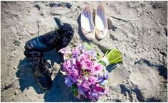 beach wedding his and her shoes